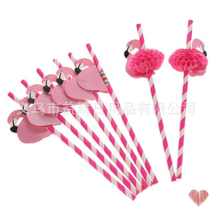 Wholesale tropical supplies resale online - New Design Flamingo Striped Straws Luau Beach Tropical Party Barware Favor Xman Cocktail Wedding Party Supplies Decor Gift N2