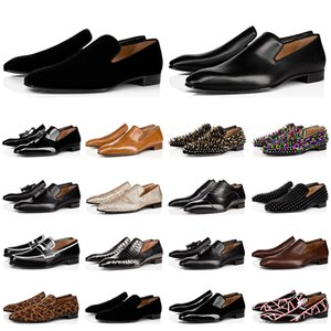 Wholesale hot fashion mens loafers resale online - Hot sale fashion mens loafers shoes red bottoms triple black suede Patent Leather Rivets loafer Dress Wedding Business shoes size