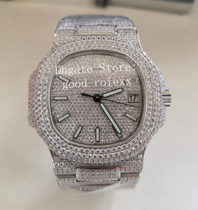 pavê de platina venda por atacado-Top Homen s Automatic Watch Platinum Miyota Cal Movimento SC Full Pave Diamond Dial Pulseira Case Rhinestone Homens ETA Relógios