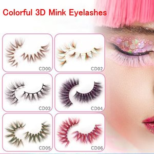 Wholesale stage makeup eyes resale online - Colorful D Mink Eyelashes Makeup Thick Eye Lashes Cross Natural Long False Eyelashes Stage Show Fake Eyelash with packaging box CPA2625