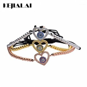 Wholesale pave heart beads for sale - Group buy Fashion Jewelry Evil Eye Heart Charm Bracelet Micro Pave White Blue CZ mm Beads Braided Macrame Bracelet Best Valentine s Gift1