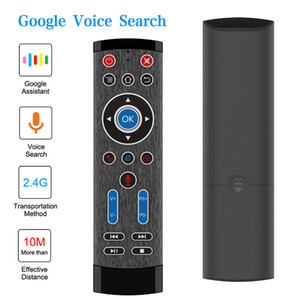 Wholesale google stock resale online - 2 G Google Voice Air Mouse Mini Wireless Keyboard Remote Control Gyro Mice For X96 H96 TX3 Mini TV Box IPTV PC LG Sony Controller T1 Max