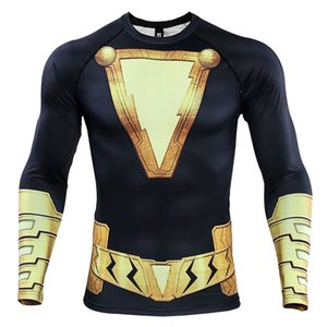 Wholesale raglan long sleeve t shirts resale online - S XL Raglan Sleeve D Printed T shirts Men Compression Shirts Long Sleeve Comics Clothing Cosplay Costume Tops Male