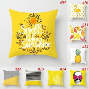 Wholesale euro pillows resale online - polyester cartoon yellow series pillow case Euro peach skin pillowcase car cushion cover home decoration colors HUKL