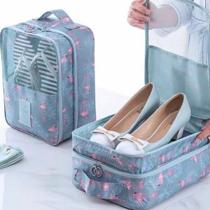 Wholesale waterproof designer shoes resale online - Convenient Shoes And Clothes Organizer Bag Nylon Waterproof Shoes Bag Pouch Storage Travel Portable Double Layer Makeup Bags