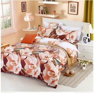 Wholesale orange 3d bedding set for sale - Group buy 2020 Luxury D Bedding Sets Printed Animal D Flower Scenery Bed Set Bedclothes Duvet Cover Sheet Pillowcase BS33