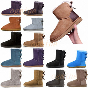 kurze winterstiefel pelz großhandel-2021 Classic australia wgg women platform womens boot girls lady bailey bow winter fur snow Half Knee Short boots