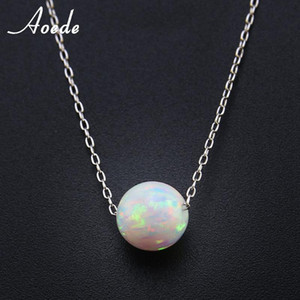Wholesale 925 fire opal pendants for sale - Group buy White Fire Opal Necklace Pendants For Women Sterling Silver Necklace Elegant Natural Stone Ball Fashion Jewelry Gift Collier