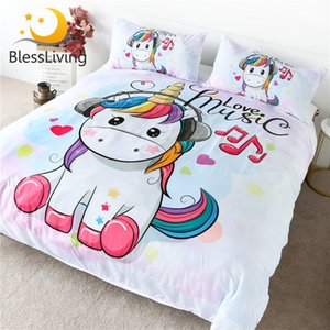 Wholesale crib set music resale online - BlessLiving Cute Unicorn Bedding Set Rainbow Hair Duvet Cover Love Music Kids Cartoon Bedspread Colorful Hearts Stars Bed Set