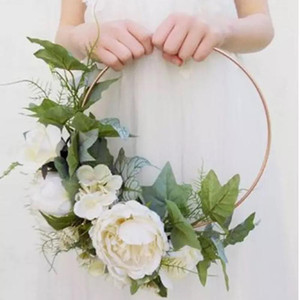 Wholesale circle garland resale online - Wedding Garland Bridal Hand Wreath Metal Circle Hoop Round Ring Wrought Iron Hollow Floral