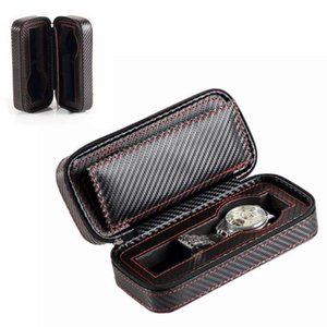 Wholesale carbon jewelry for sale - Group buy zipper Carbon fiber portable booth watch bag clock storage leather box jewelry bag travel collection props