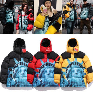 Wholesale liberty statues resale online - Hot Women Men Down Parkas Winter Outerwear Statue of Liberty Casual Jacket Warm Jacket Unisex Coat Outwear Hip Hop Men Streetwear X6102