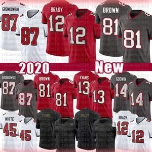 12 Tom Brady 81 Antonio Brown 87 Rob Gronkowski Football Jersey 13 Mike Evans 14 Chris Godwin TampaBay Buccaneer45 Devin White