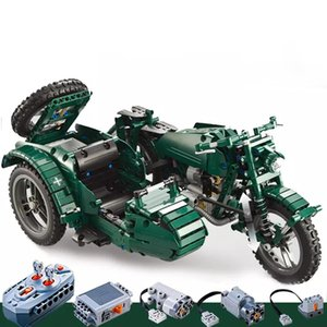 Wholesale three wheeled motorcycles resale online - CaDA C51021 Military Series RC Three Wheeled Motorcycle Technic Building Blocks Bricks Remote Control Car Toys Gifts X0102