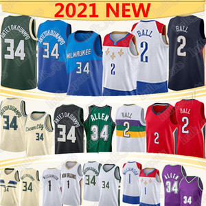 basketball ncaa großhandel-Giannis AntetokounMPO Nba Basketball Trikots Lonzo Ball Zion Williamson Allen NCAA Männer Kinder Retro Basketball Jersey