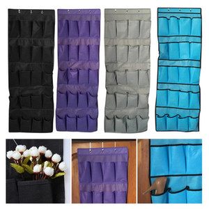 Wholesale hanging nails for sale - Group buy Hanging Shoe Organizer Non woven Pocket Shoes Storage Rack Behind Door Free Nail Bedroom Tie Waistband Holder Space Saver