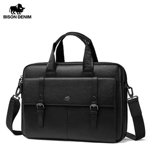 15.6 sacolas para laptop venda por atacado-Bison Denim Genuine Leather Men Bag Business Casual Ombro Bolsa Bolsa Laptop New Bluease W20045