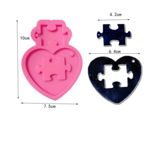 Wholesale puzzles for free for sale - Group buy DIY Silicone Mold Heart Puzzle Keychain Silicone Mold for DIY Cake Decoration Resin Gumpaste Fondant Sugar Craft Molds Free ship G2