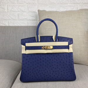 Wholesale prices for silver resale online - whosale fully handmade Navy blue ostrich skin design handbag30cm wax thread have both gold and silver hardware message for discount price