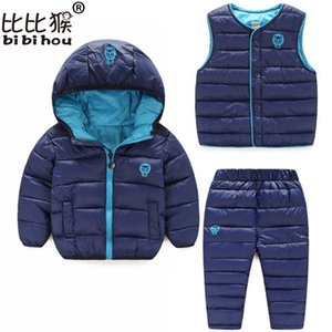 Wholesale girls red coat set resale online - Toddler Winter Baby Girls Boys Clothing Sets Warm Faux Down Jacket Clothes Sets Children Kids Snowsuit Coats Vest Pants Overalls Y200829