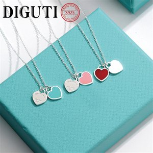 Wholesale women's necklaces resale online - Tiff sterling silver pendant necklace female jewelry high end craftsmanship with official logo Tiff blue heart necklace