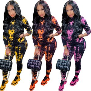 Womens Two Piece Tracksuits Winter New Tie Dye Hoods Print Jogging Suits Long Sleeve Trousers Sports Suits Designers Clothes 2020
