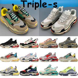 2020 Triple-s mens sneakers men women platform sneakers beige dust pink grey triple white black red rose gold neon yellow running shoes