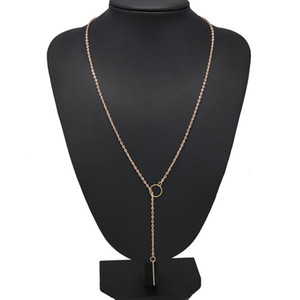 Wholesale golden necklaces for sale - Group buy Necklaces Pendants Women Simple Golden Color Alloy Y Shaped Statement Necklaces K Gold Plated Cheap Long Charms Chains Necklac O2