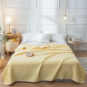 Wholesale queen blanket cotton for sale - Group buy Bonenjoy Cotton Thread Blanket Single Queen Size Yellow Towel Blankets Cotton Summer Bedspread King Size Knitted Blankets