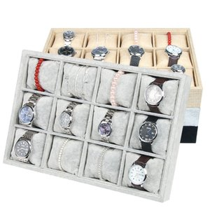 Wholesale jewelry display box tray resale online - High end Velvet Jewelry Box Bracelet Watch Tray Jewelry Display Stand Holder Boutique Jewelry Storage Grid Small Pillow Tray