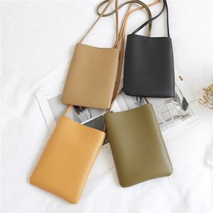 Wholesale material girls for sale - Group buy Solid Color PU Material Ladies Mobile Phone Pouch Classic Style Simple Girl Messenger Bag Portable Shoulder Bags