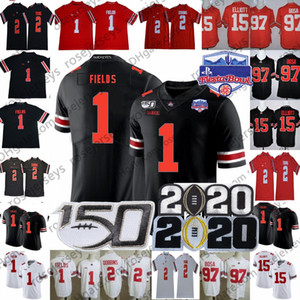 2020 Ohio State Buckeyes Justin Fields Jersey OSU Playoff #1 #2 Chris Olave Chase Young JK Dobbins #15 Elliott Nick Bosa Teague 150TH