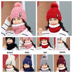 New Winter knitted Beanies Hats Women Thick Warm Beanie Skullies Hat Female knit Letter Bonnet Beanie Caps Outdoor Riding Sets
