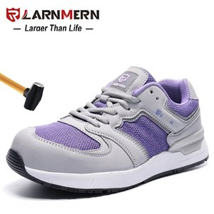zapatos de trabajo de las mujeres al por mayor-Larnmern Women s Work Safety Shoes Steel Toe Construction Sneaker transpirable Lightweight Anti Smashing SRC Shoes Y200915