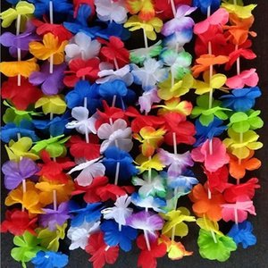 Wholesale artificial hawaiian flower garland resale online - 50Pcs Hawaiian artificial Flowers leis Garland Necklace Fancy Dress Party Hawaii Beach Fun Flowers DIY Party Beach Decoration I00O