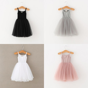 Wholesale tutu kids resale online - DUDU Quality INS Colors Baby girls Lace Tulle Sling dress Children suspender Mesh Tutu princess dresses Boutique Kids Clothing K2