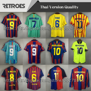 Wholesale thailand yellow shirts resale online - 1996 Retro Soccer jersey Guardiola Home Away Classic Thailand Quaersey Stoichkov RONALDINHO RIVALDO Football Shirt