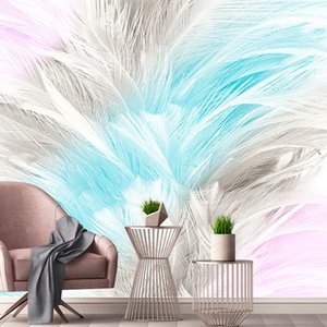wallpaper estética venda por atacado-Personalizado D Mural Wallpaper Nordic simples Abstract Watercolor Aesthetic Feather Sala Quarto TV do fundo da foto