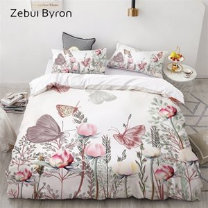 Wholesale flowers 3d duvet cover king resale online - 3D HD Print Bedding Set Custom King Europe USA Duvet Cover Set Queen King Quilt Blanket Cover Set Bedclothes Butterfly in flower