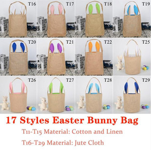 Wholesale animal jute bag for sale - Group buy New Colors Burlap Easter Tote Bags Cute Jute Easter Baskets Bunny Ears Bucket Gift Bag Kids Festival Supplies Party Favor Sea Ship W55