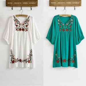 Wholesale 70s dress for sale - Group buy Vintage s Ethnic Floral EMBROIDERED Hippie BOHO Mexican puff slv Loose DRESS One Size XS S M L Elegant Dresses
