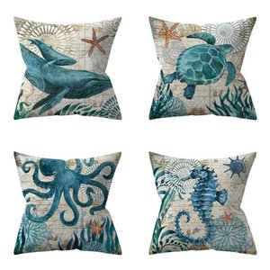 Wholesale nautical shell for sale - Group buy Mediterranean Sea Shell Cushion Cover Mediterranean Decoracion Marinera Blue Nautical Pillow Cover Not include Pillow DHD3893
