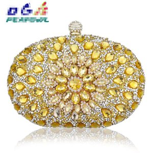 Wholesale wedding handbags green blue resale online - Luxury Clutch Chain Bag Woman Wedding Diamond Crystal Floral Blue Red Sling Designer Purse Cell Phone Pocket Wallet Handbags Y1222 X1228