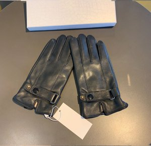 Wholesale drive gloves resale online - Luxury designer Leather Gloves Men Winter Touch Screen Sheepskin Gloves Plus Velvet Thickened Warmth Drive Cycling