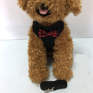 Wholesale harnesses dogs for sale - Group buy Outdoor Pet Dog Harnesses Classic Pattern Fashion Adjustable Pet Harnesses Leashes Cute Teddy Leash Collar Suit Small Dog Collar Accessories