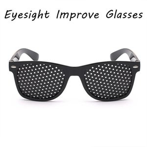 Wholesale vision pinhole glasses resale online - Exercise Eye Improve Eyesight Care Eyeglasses Eyewear Black Unisex Pinholes Glasses Vision Caresunglasses