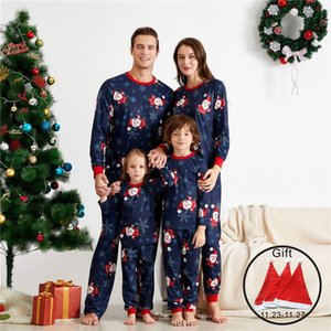 Wholesale santa claus sleepwear resale online - Christmas Pyjamas Family Clothes Santa Claus Print Top Pants Dad Mom Kids Baby Christmas Outfit Home Sleepwear Pj s Set F1221