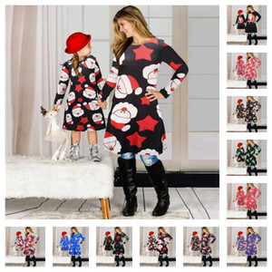 Wholesale parent child clothing resale online - Christmas Family Matching Clothes Suit Mother Daughter Matching Dresses Santa Claus Skirt Christmas Print Parent child Dress Outfits E101901