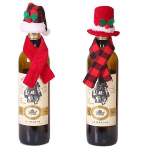 Wholesale scarf bottle resale online - Mini Christmas Santa Claus Hat and Mini Christmas Scarf set for Christmas Silverware Holders Wine Bottle Decorations KKA8138