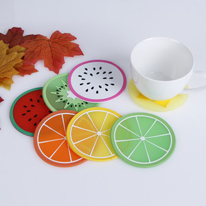 Wholesale round silicone placemats for sale - Group buy PVC soft Silicone Coaster Novelty Fruit round Shape Cup Pad Slip Insulation Drinks Mat Tableware placemats kitchen accessories cm DHD3855